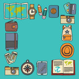 传染媒介与旅行象冒险的乱画集合探索照相机护照票地图背包乱画样式 免版税库存图片