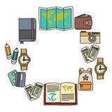 传染媒介与旅行象冒险的乱画集合探索照相机护照票地图背包乱画样式 库存图片