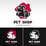 传染媒介与猫和狗的商标模板 免版税库存照片