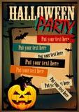 传染媒介与猫的万圣夜海报 免版税库存照片
