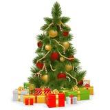 传染媒介与礼物的圣诞树 免版税图库摄影