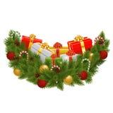传染媒介与礼物的圣诞节装饰 图库摄影