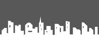 传染媒介与窗口的城市剪影 免版税库存照片