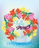 传染媒介与纸船和美丽的花的春天例证 免版税库存照片