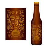 传染媒介与花饰的啤酒标签 库存图片