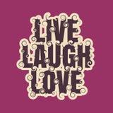 传染媒介与词的字法例证居住,笑,爱 免版税库存照片