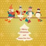 传染媒介与雪人例证的圣诞卡 免版税库存照片