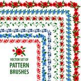 传染媒介与鸦片和矢车菊的样式刷子的汇集 毗邻装饰框架 库存图片