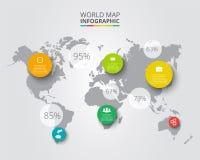 传染媒介与infographic元素的世界地图 图库摄影