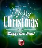 传染媒介与typograph的圣诞快乐例证 免版税库存照片