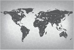 传染媒介世界地图连接 灰色相似的世界地图 例证映射旧世界 皇族释放例证
