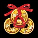 传染媒介中国硬币栓与红色丝带 免版税图库摄影
