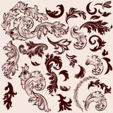 传染媒介为设计设置的葡萄酒漩涡 库存图片