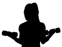 传染媒介举行哑铃的健身妇女 免版税图库摄影