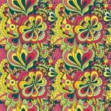 传染媒介乱画手拉的无缝的花卉样式 免版税库存照片