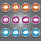 传染媒介云彩象设置了与在玻璃按钮的加载和下载题材您的设计的 免版税库存图片