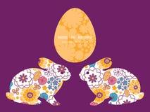传染媒介五颜六色的东方人开花小兔 免版税图库摄影