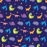 传染媒介五颜六色的恐龙行无缝的样式 图库摄影