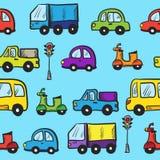 传染媒介五颜六色的手拉的乱画动画片汽车 免版税库存图片