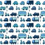 传染媒介五颜六色的手拉的乱画动画片汽车 免版税库存照片