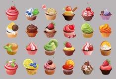 传染媒介五颜六色的杯形蛋糕 免版税库存图片