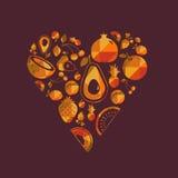 传染媒介五颜六色的果子心脏 库存图片