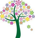 传染媒介五颜六色的花树 免版税库存照片