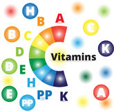 传染媒介五颜六色的维生素 免版税库存图片