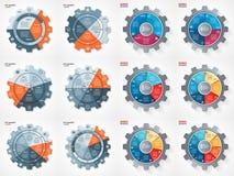 传染媒介企业齿轮样式圈子infographic集合 免版税库存图片