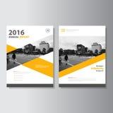 传染媒介传单小册子飞行物模板A4大小设计,年终报告书套布局设计,抽象黄色模板 库存照片
