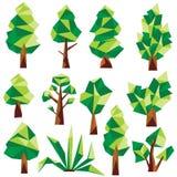 传染媒介低多杉木和树 免版税库存图片