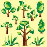 传染媒介低多树和仙人掌 免版税库存照片