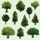 传染媒介低多树 艺术开花夹子例证结构树 免版税库存图片