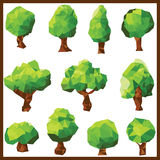 传染媒介低多角形绿色树 库存照片