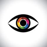 传染媒介作为照相机的象眼睛与快门 库存图片