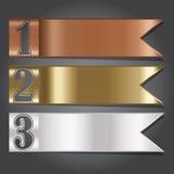 传染媒介例证、金属旗子横幅设计的和创造性的W 免版税库存照片