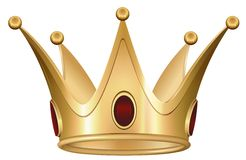 有红宝石的金黄皇家冠 免版税库存照片