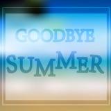 传染媒介例证与文本再见夏天 免版税库存图片
