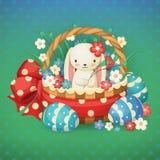 传染媒介例证为复活节假日 在一个篮子的兔子与花和鸡蛋 免版税库存图片