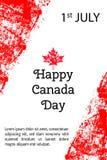 传染媒介例证加拿大日 在时髦难看的东西样式的加拿大旗子 7月1日海报的,横幅, flayer设计模板 库存图片