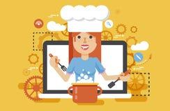 传染媒介例证厨师厨师营养师烹调训练教育食谱博克的营养师妇女HLS适当和健康 向量例证