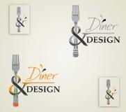 传染媒介例证商标吃饭的客人和设计 库存照片