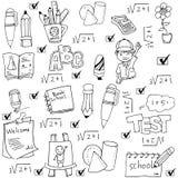 传染媒介例证在乱画的学校工具 免版税图库摄影
