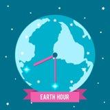 传染媒介例证地球小时 生动描述一个时钟用在星中的手 免版税库存图片