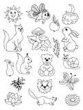传染媒介例证套动物和果子 乱画图画 冥想的锻炼 成人的彩图反重音 黑wh 免版税库存图片