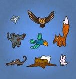 传染媒介例证套手拉的森林动物和鸟 库存例证
