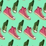 传染媒介例证手拉的剪影绿松石穿上鞋子设计的样式 免版税图库摄影