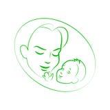 传染媒介例证有小婴孩的剪影母亲 免版税库存图片