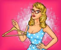 传染媒介例证有挂衣架的流行艺术女孩 库存例证