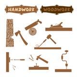 传染媒介例证木工作手工具剪影设置了与有词手工的显示的工作的过程和标志委员会 免版税库存图片